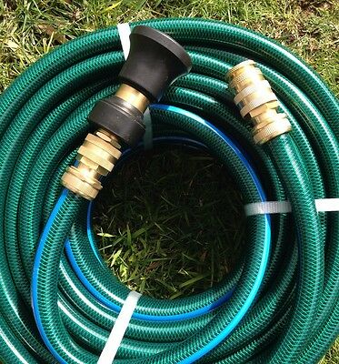"Garden Water Hose 100M Durable Hose 3/4"" - 18MM Brass Fittings &  Fire Nozzle"