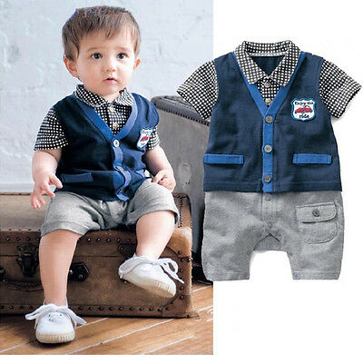 Baby Boy Top Bowknot Short Sleeve Outfit Romper Jumpsuit Clothes Clothing Set