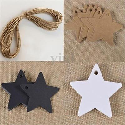 100Pcs Star Kraft Paper Hang Tags Wedding Party Favor Label Luggage Gift Card