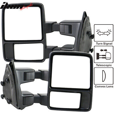 Functional Signal Light 99-15 Ford F250-550 Tow Towing Mirrors Manual Pair