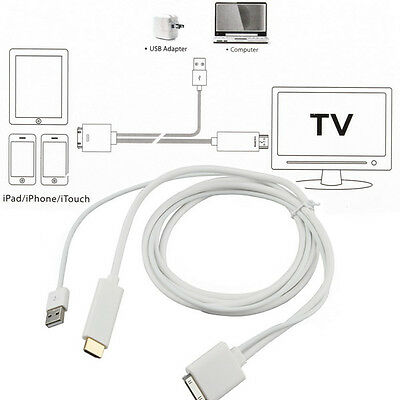 Dock to HDMI HD TV Cable + USB Charger For Apple iPhone 4S iPad2 iPad3 IOS8 IOS9