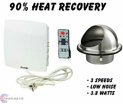 Heat Recovery Supply Extract or Passive Fan Humidity Setting Wall Mounted 90%