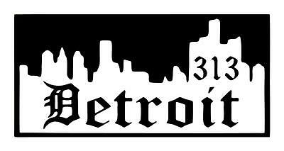 Detroit Skyline 4X9 I Pad Skateboard Vinyl Car Truck Window Decal Sticker