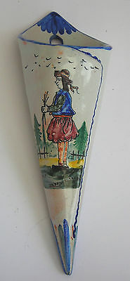 C19TH  FRENCH FAIENCE HAND PAINTED CONICAL WALL POCKET WITH PICTURE OF A BRETON