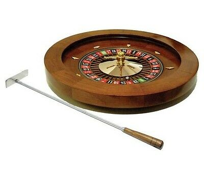 """16"""" Deluxe Wooden Roulette Spinning Wheel Game With Metal Rake New"""