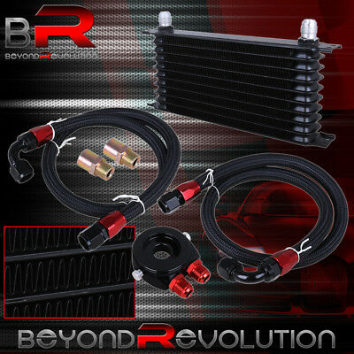 """12.5"""" x 2"""" x 7"""" 9ROW PERFORMANCE OIL COOLER FILTER RELOCATE SS LINES KIT BLACK"""