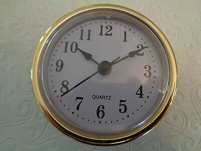 "2-1/2"" (65mm) QUARTZ CLOCK FIT-UP/Insert, Arabic Numeral, White Face, Gold Trim"