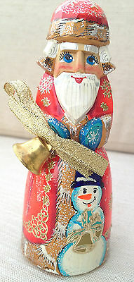 Russian SANTA with Bell SNOWMANWooden Hand Carved Hand Painted Father Frost