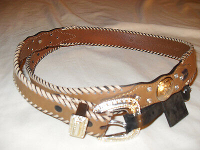 Ladies Western Tan Leather Belt W/ Lacing & Silver, Concho's Size See Chart