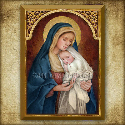 Madonna and Child (H) Icon/Plaque & Holy Card GIFT SET Catholic Art Virgin Mary
