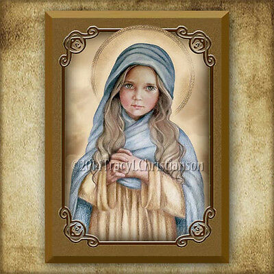 The Child Mary Icon/Plaque & Holy Card GIFT SET Catholic Art