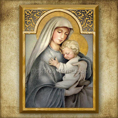 Madonna and Child (C) Icon/Plaque & Holy Card GIFT SET Catholic Art Virgin Mary