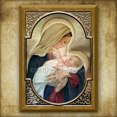 Madonna and Child (F) Icon/Plaque & Holy Card GIFT SET Catholic Art Virgin Mary