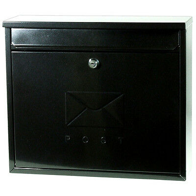 ELEGANCE STYLE POST BOX in GALVANISED STEEL - BLACK