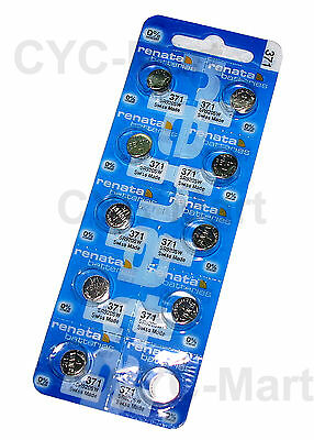 Renata 371 SR920SW Silver Oxide Watch Battery x 10 pcs, Swiss Made FREE reg POST