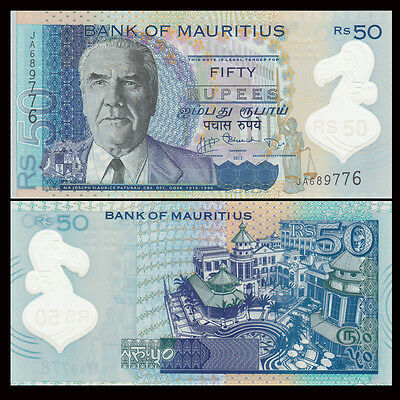 Mauritius 50 Rupees, 2013, P-65 NEW, Polymer, UNC