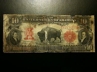1901 Ten Dollar $10 Bison Legal Tender Fine Note Bill Currency Red Seal