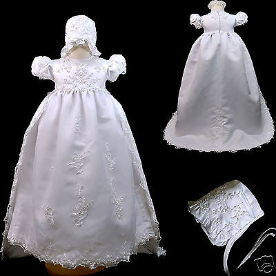 New Baby Girl & Toddler Christening Baptism Formal Dress Gown size 0-30 M white