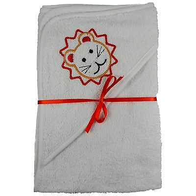 2x 100% Cotton Hooded New Born Baby Cuddle Robe Towel 1 Plain 1 Lion Shower Gift