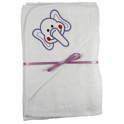2x 100% Cotton Hooded New Born Baby Cuddle Robe Towel Elephant 60x60 Shower Gift