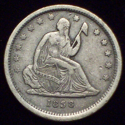 1838 Seated Liberty QUARTER Dollar SILVER Nice XF+ Detailing *RARE First Year*