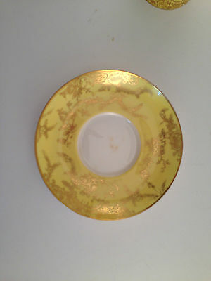 Copelands China Spode Demitasse Saucer Canary Yellow Gold Trim OLD