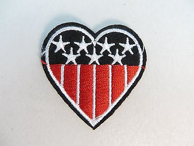 "[US SELLER] Patriotic Heart American Flag Stars and Stripe Patch 2"" x 2"""