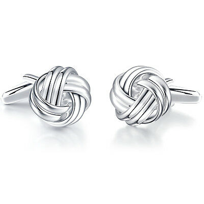 Honey Bear Luxury Silver Mens Plated Knot Twisted Business Wedding Cufflinks