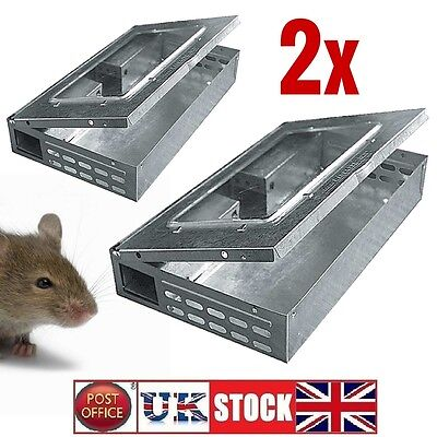 2x Mouse Trap Humane Metal Multi Live Catch 10 Mice Pest Control Reusable