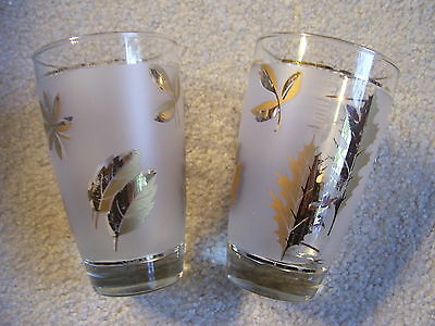 TWO LIBBEY FROSTED GOLD LEAF BEVERAGE GLASSES