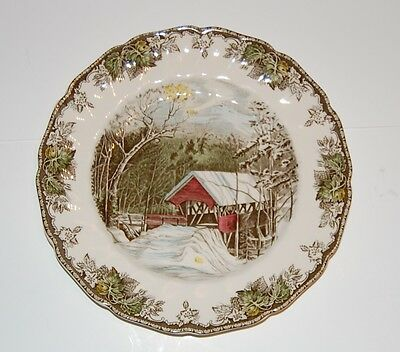 """VintageJohnson Brothers The Friendly Village Covered Bridge 10.5"""" Plates"""