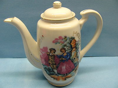 Vintage English Patterned China Tea Pot & Lid- China Coffee Pot Made In Japan