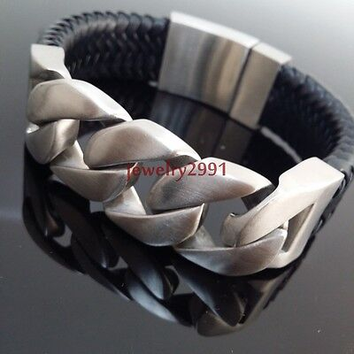 """new design men's jewelry stainless steel silver with leather bracelet 24mm9"""""""