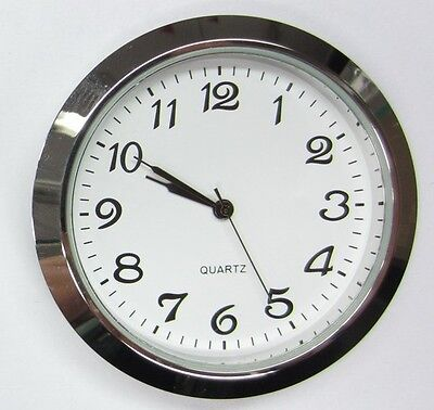"2-1/8"" (55MM) PREMIUM QUARTZ CLOCK Insert, Silver Bezel, Metal Case, Arabic"