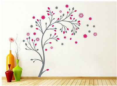 NEW Pink Flower Tree Romantic Living Wall Decor Vinyl Decal Stickers Removable