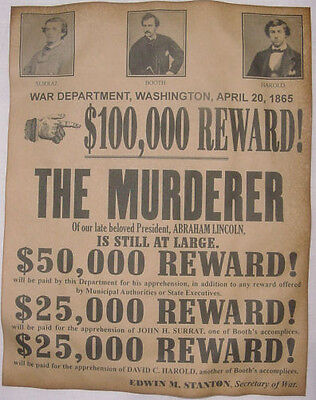 Abraham Lincoln Assassins Wanted Poster, Civil War, John Wilkes Booth