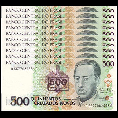 Lot 10 PCS, Brazil 500 Cruzeiros on 500, 1990, P-226b, UNC