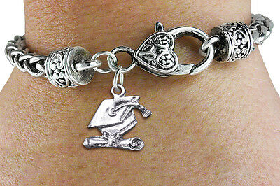 """Graduation Cap and Diploma"" Charm Bracelet - Graduation Jewelry Gift for Her"