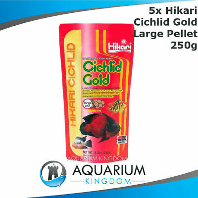 5x Hikari Cichlid Gold 250g LARGE Size Pellet 7-8mm Floating Tropical Fish Food