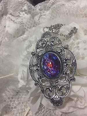 MEDIEVAL AMULET HALLOWEEN  WEDDING fire opal DRAGONS BREATH Necklace silver gold