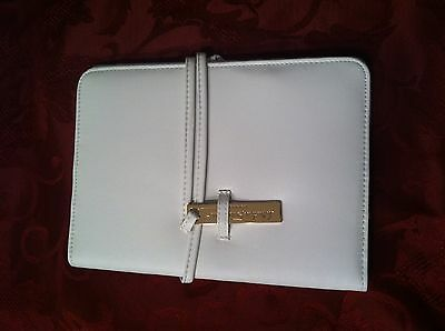 Salvatore Ferragamo Organizer 7 pockets with two pen holders, White faux leather