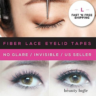 Original Invisible Fiber Lace Double Eyelid Tapes (L)120Pieces+TOOLS *US SELLER*
