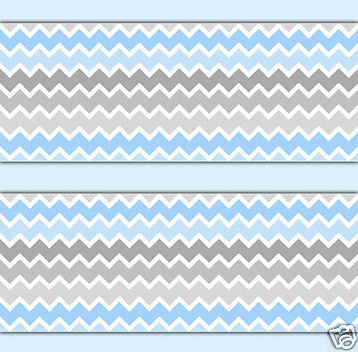 Blue Grey Gray Ombre Chevron Wallpaper Border Wall Decals Baby Boy Nursery Decor