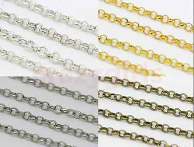 1/5/100Meters Round Rings 3mm Thickness Chains Fit Jewelry Making Necklace