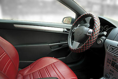 Genuine Sumex Soft Car Steering Wheel Sleeve Cover - Black with Red Stitch #79