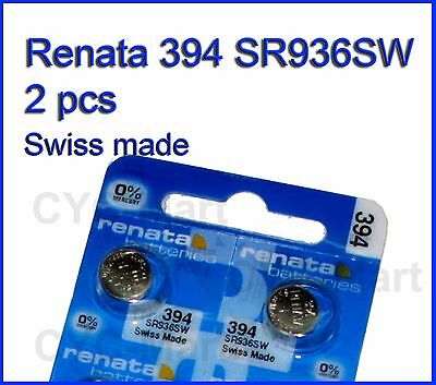 2 pieces Renata 394 (SR936SW) Silver Oxide button Battery Swiss Made FREE SHIP