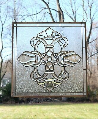 """stunning Handcrafted stained glass Clear Beveled window panel, 24"""" x 24"""""""