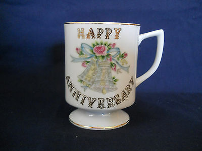 Lefton China Hand Painted Cup Mug Happy Anniversary 6296 Footed Bells