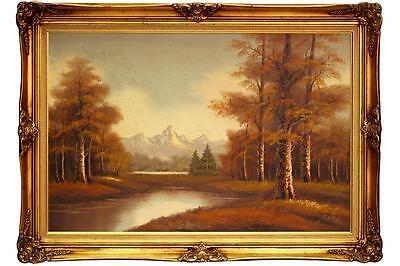 ANTIQUE 1930s OIL PAINTING NATURE MOUNTAIN LAKE LANDSCAPE FALL W/ FRAME VINTAGE