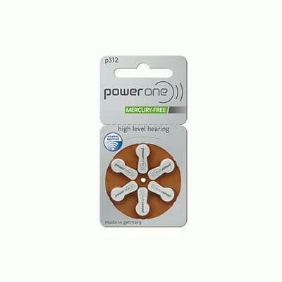 Power One High Level Hearing Aid Batteries (QTY 6) Size 312
